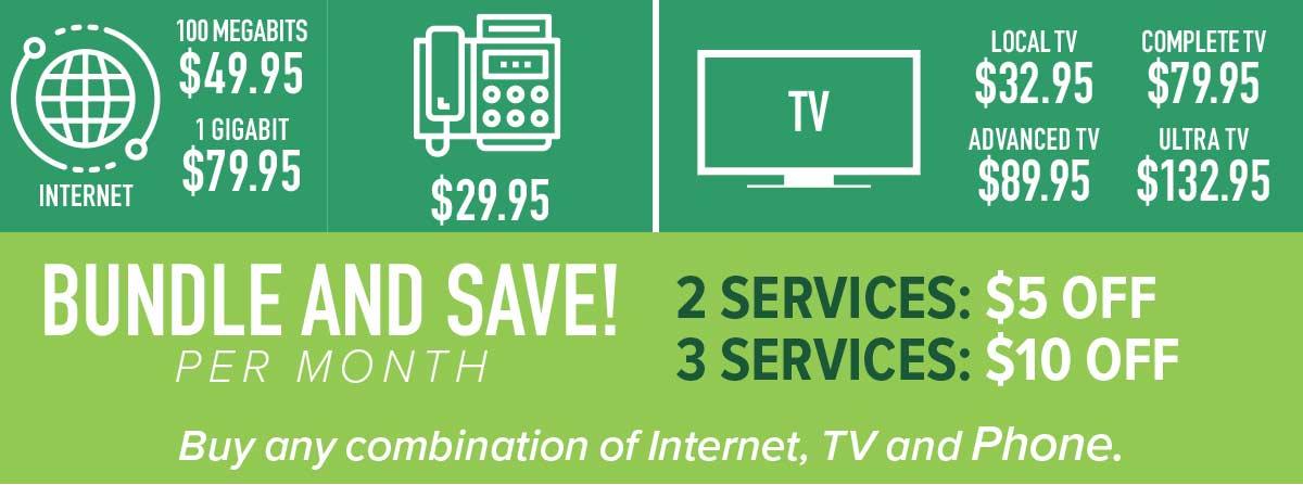 WAVE: Internet starts at $49.95, TV 32.95, Phone $29.95